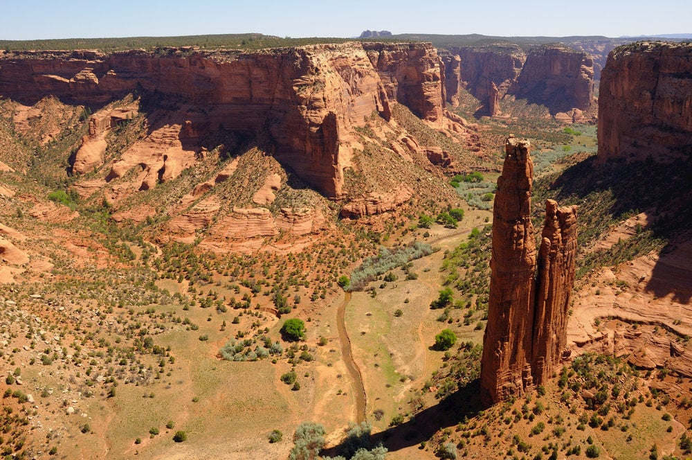 Views of Canyon de Chelly National Monument from a lookout point.