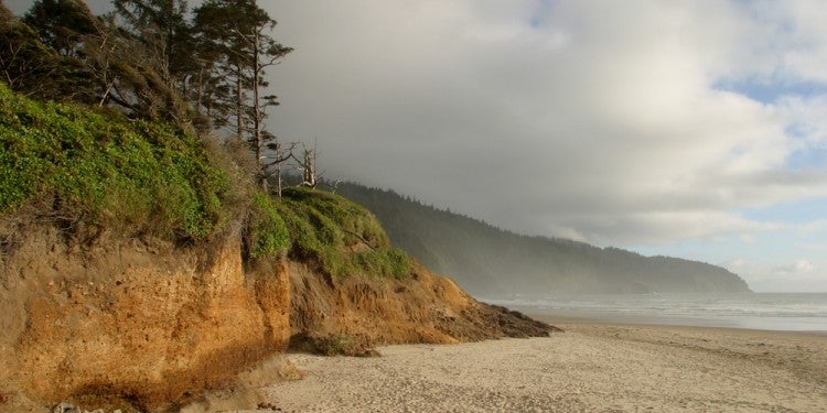Clouds over cape lookout beach and cliffs.