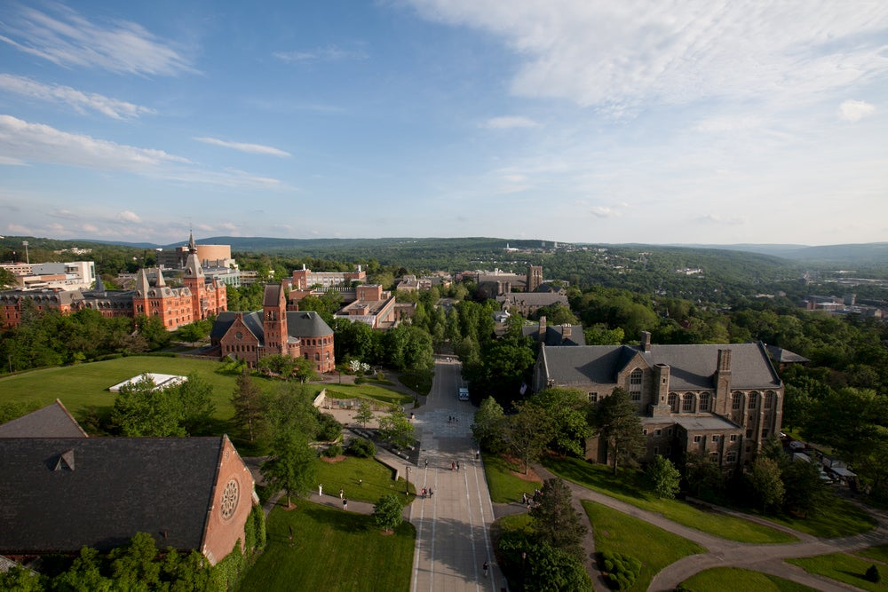 Aerial view of Cornell University campus.