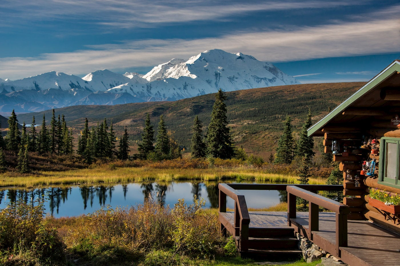 Lodge with Denali in the background.