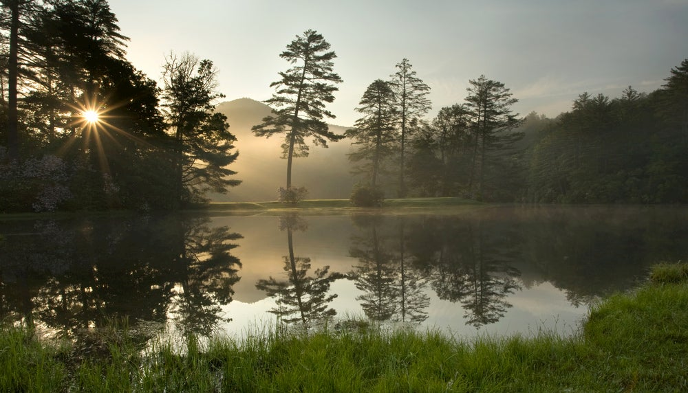 Foggy lake in the forest of Cashiers, North Carolina.