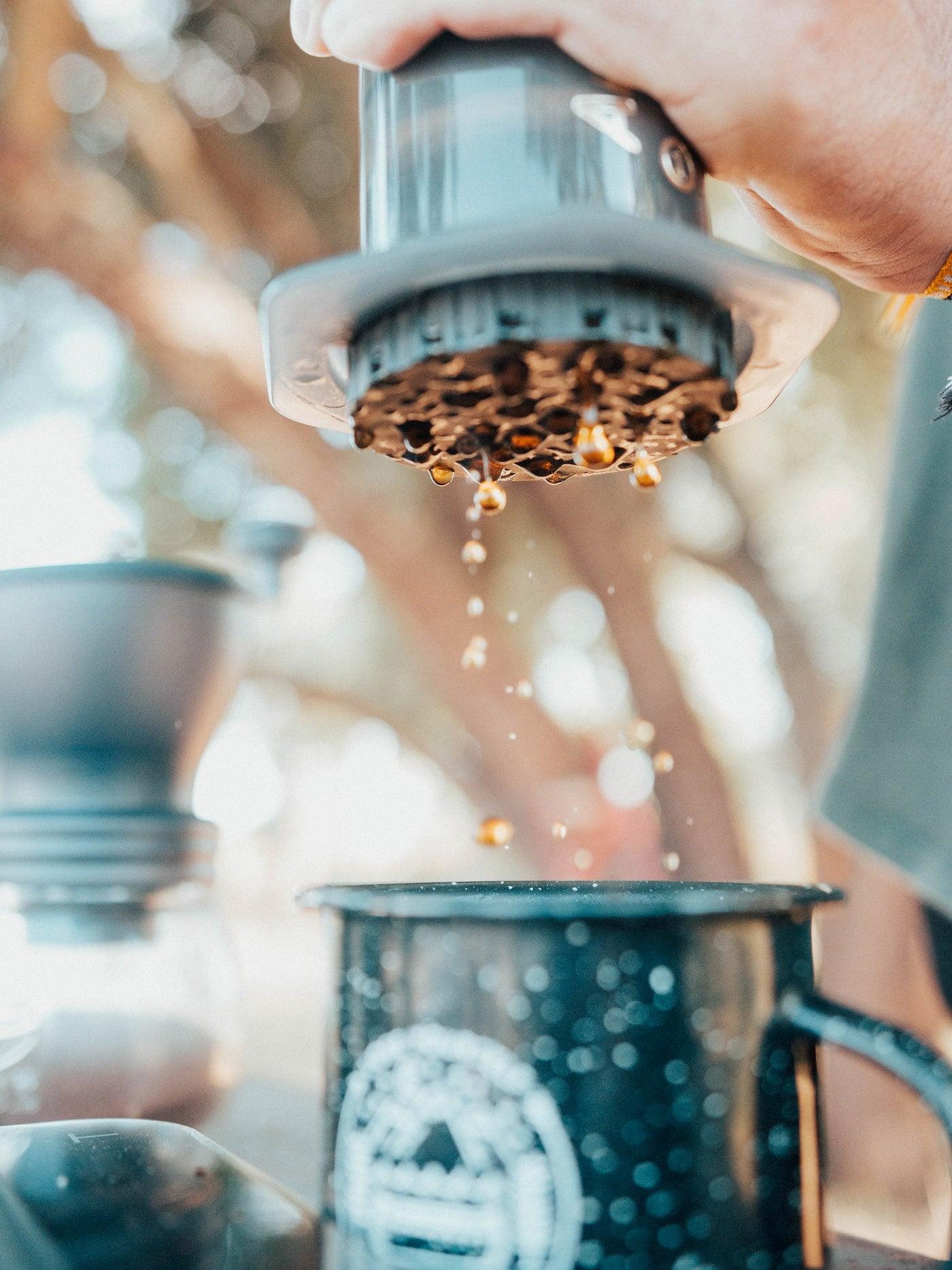 Brewing coffee outside through the aeropress.