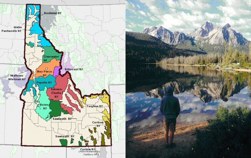 Left Image: Map of National Forest land in Idaho. Right: Person standing beside a lake in the one of Idaho's National Forests.