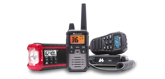 Selection of midland branded radios.