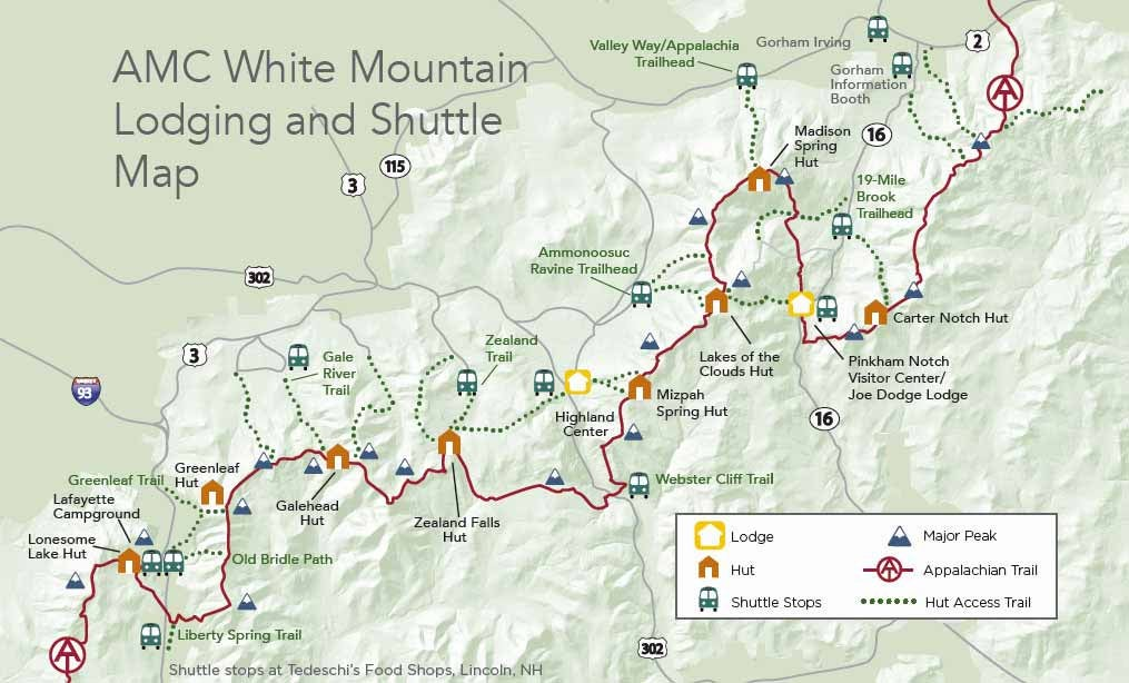 Map of AMC Huts shuttle.
