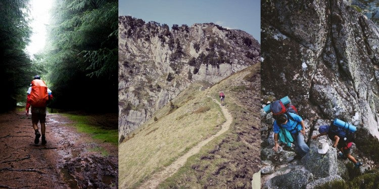 Split image showing three separate images of backpackers on trails of varied difficulty.