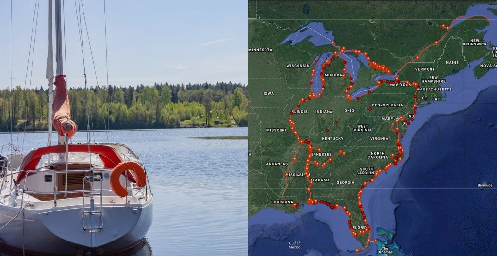 Left: Large sailboat anchored beyond land. Right: Pinpoints on map of the great loop spanning over the eastern side of North America.