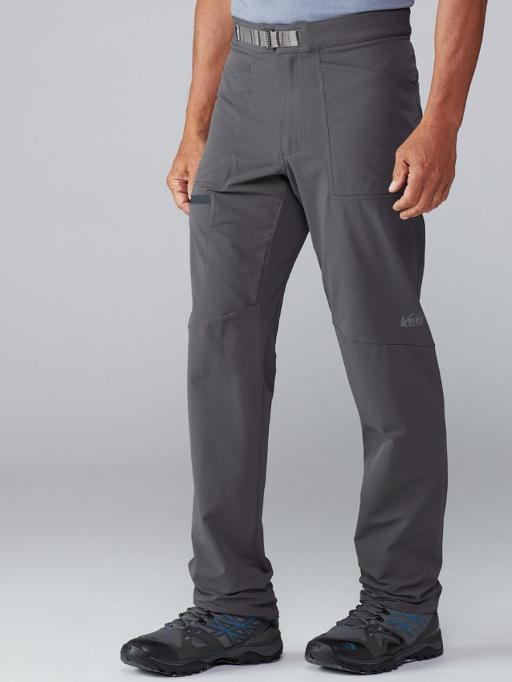 legs of a man wearing gray hiking pants