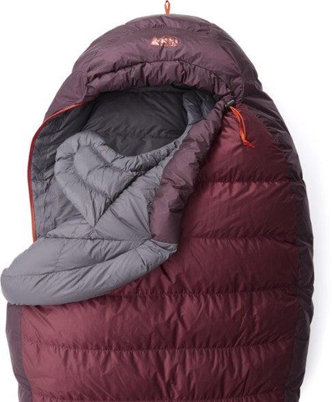 maroon mummy-style sleeping bag
