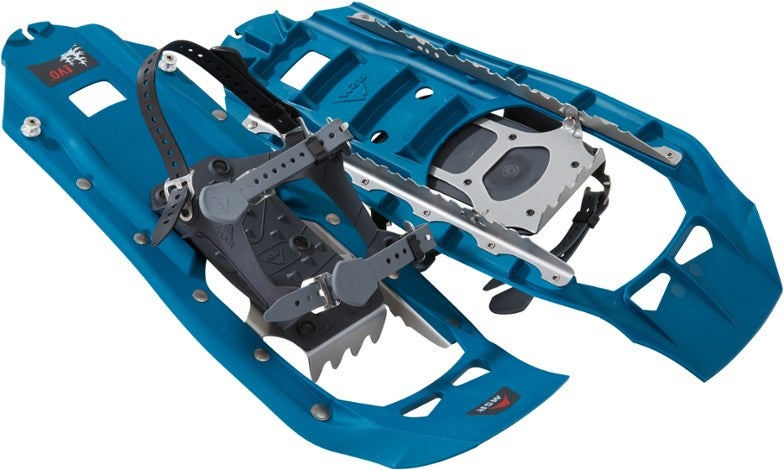 a pair of blue snowshoes