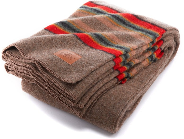 striped wool blanket with red accents