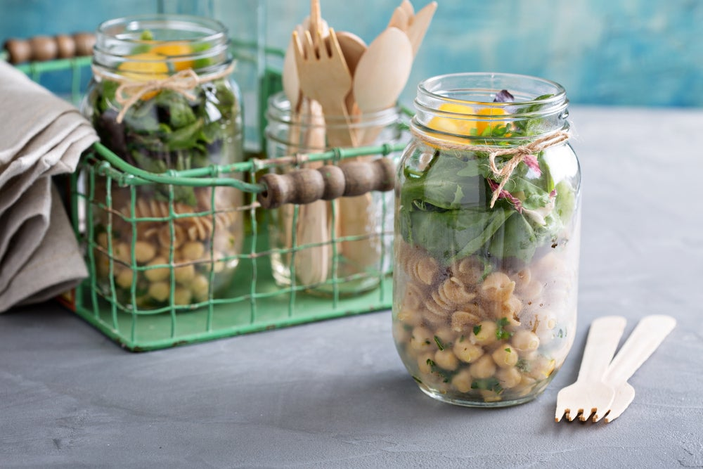 a mason jar of pasta salad