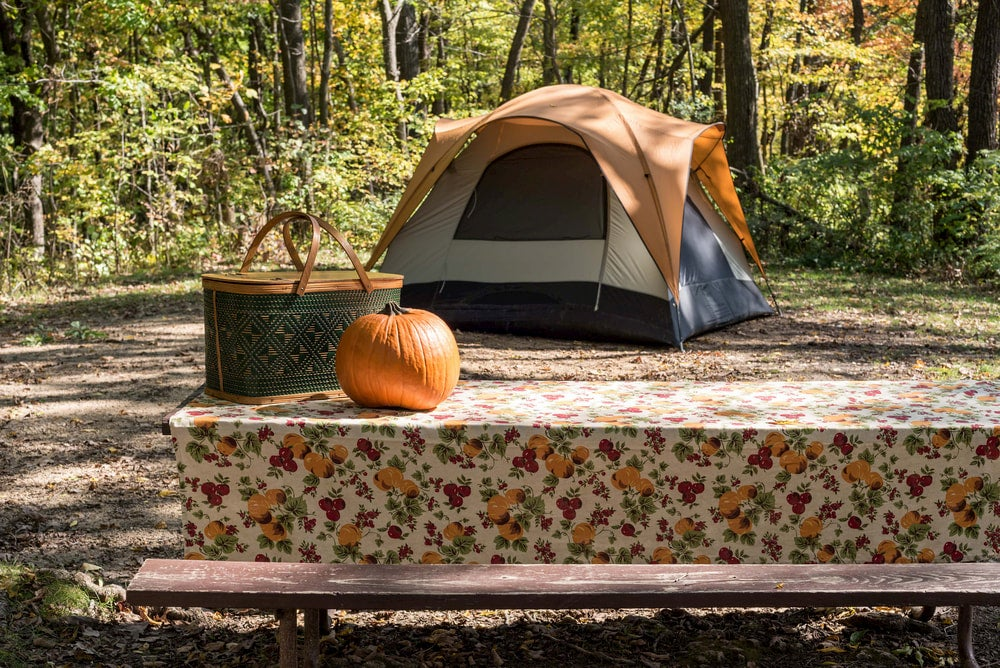 Campsite with tent and pumpkin.