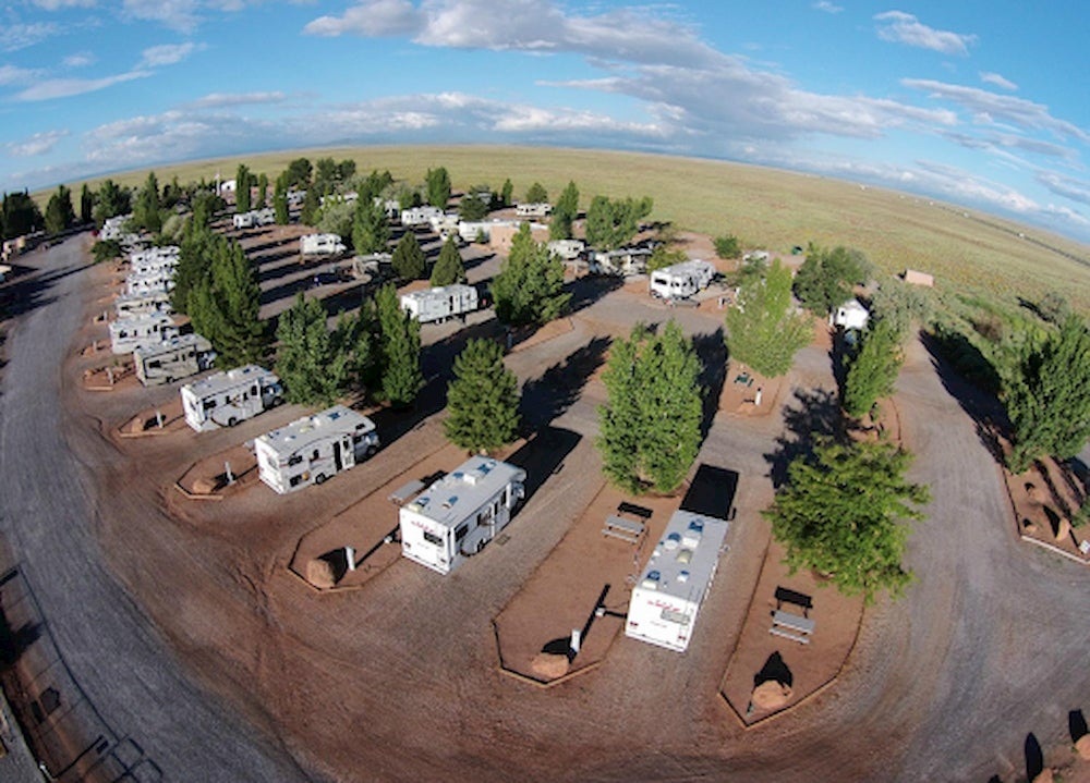 Aerial image of Meteor Crater RV Park.