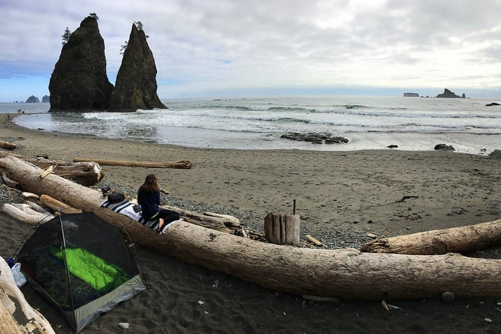 a tent and person behind a log on the beach in washington
