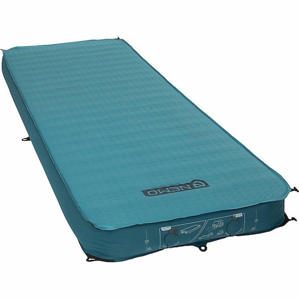 Blue air mattress.