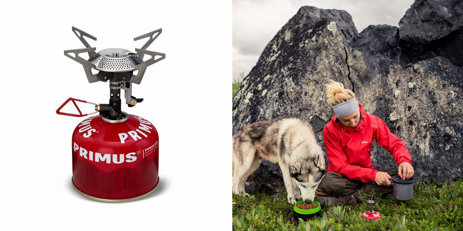 On the left, image of a backpacking stove and fuel canister. On the right, image of women cooking outdoors beside her dog eating food out of a bowl.