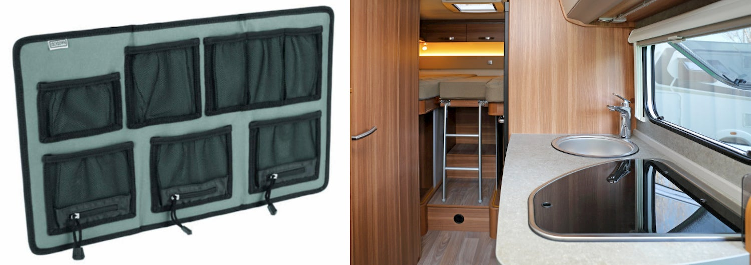 side-by-side of lockwood large hanging vault organizer and the interior of an RV