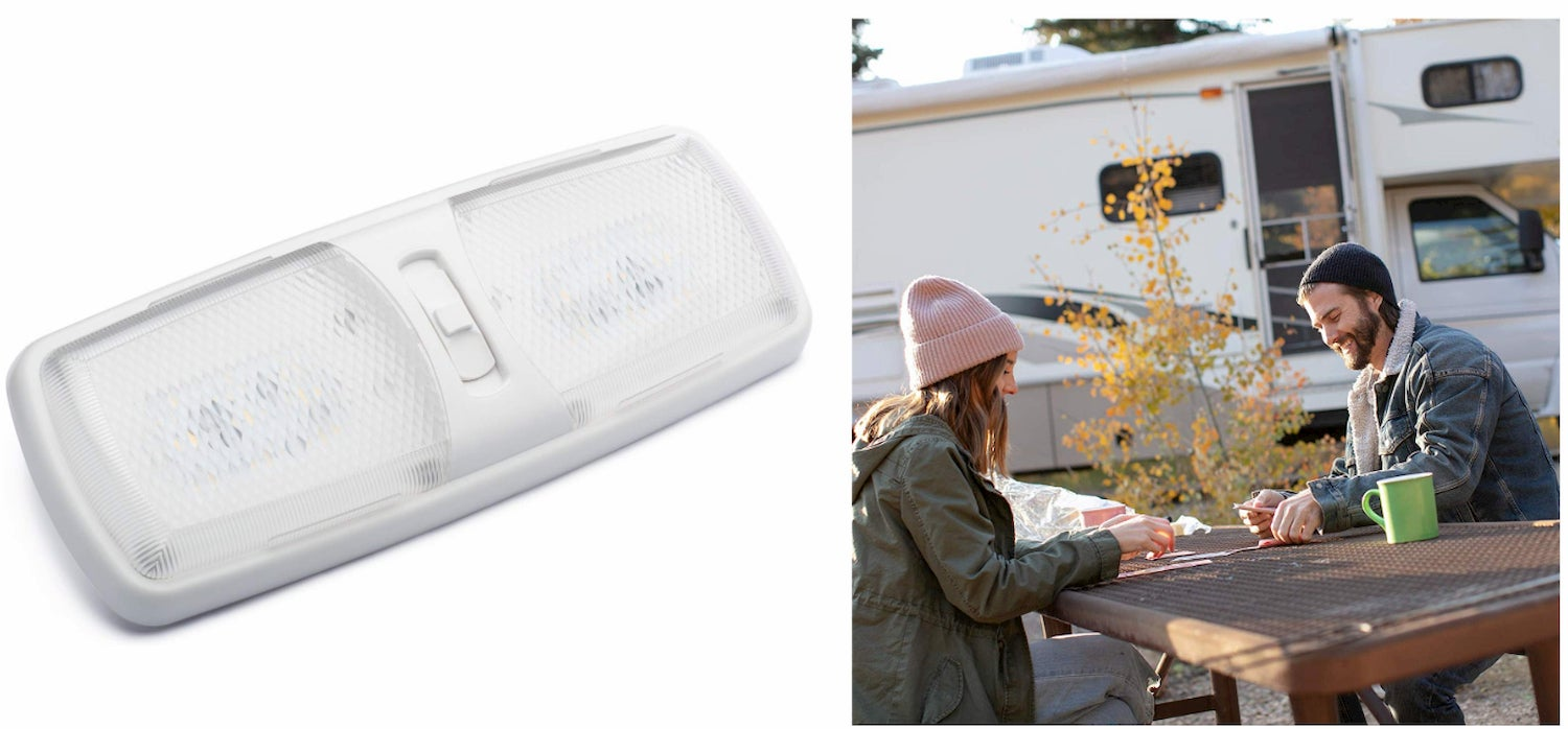 Lumitronics RV Double 12V LED Dome Light with 3-Way Switch and Removable Lenses