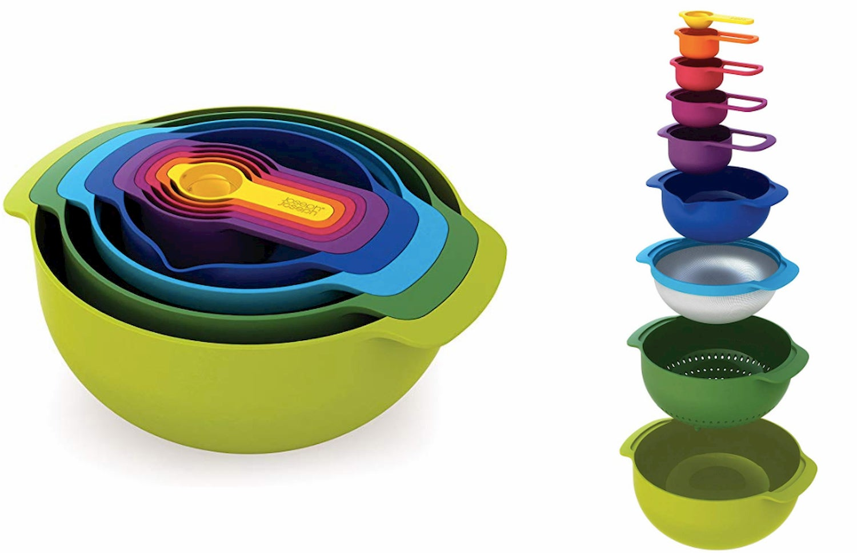 Joseph Joseph 40087 Nest 9 Nesting Bowls Set with Mixing Bowls Measuring Cups Sieve Colander, 9-Piece, Multicolored