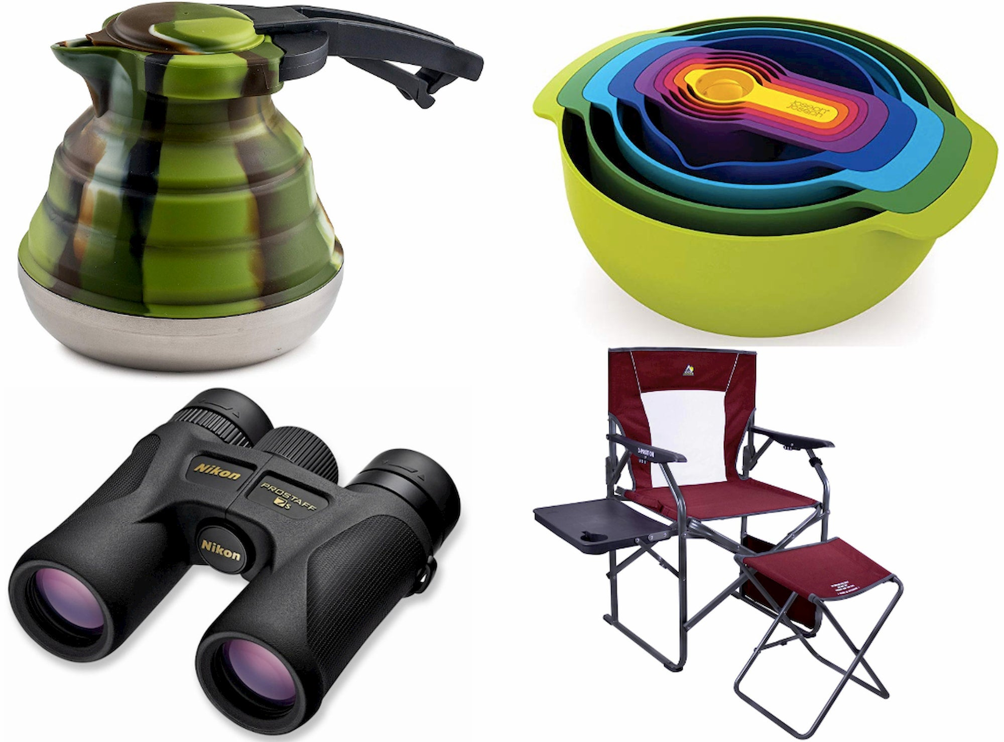 collage of kettle, nesting measuring bowls, binocular, and a camp chair