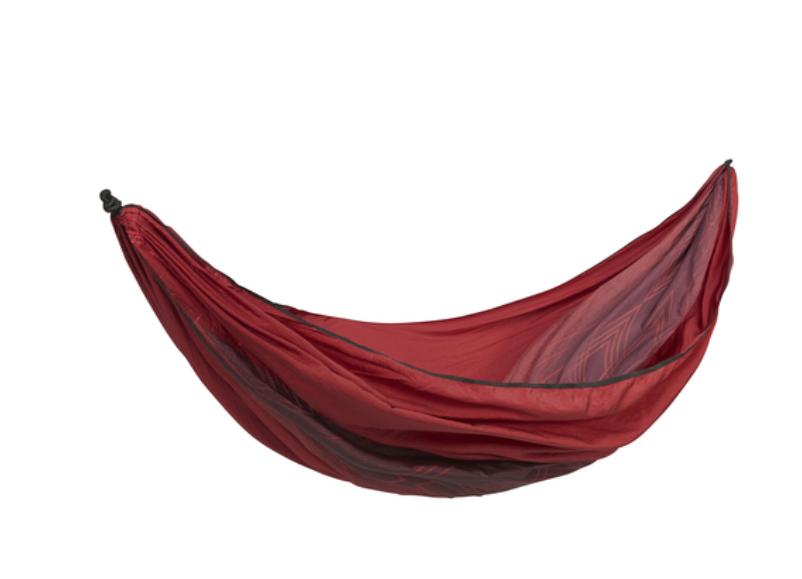 Red camping hammock.