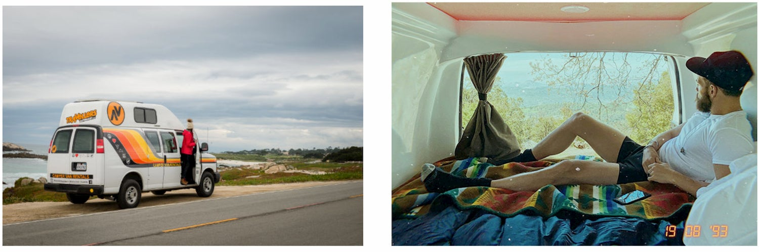 side-by-side pictures of interior and exterior of travellers autobarn van