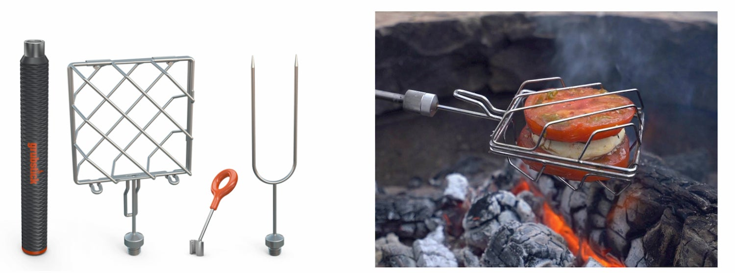 side-by-side of grub stick intro kit and a grubcage cooking tomatoes over a fire