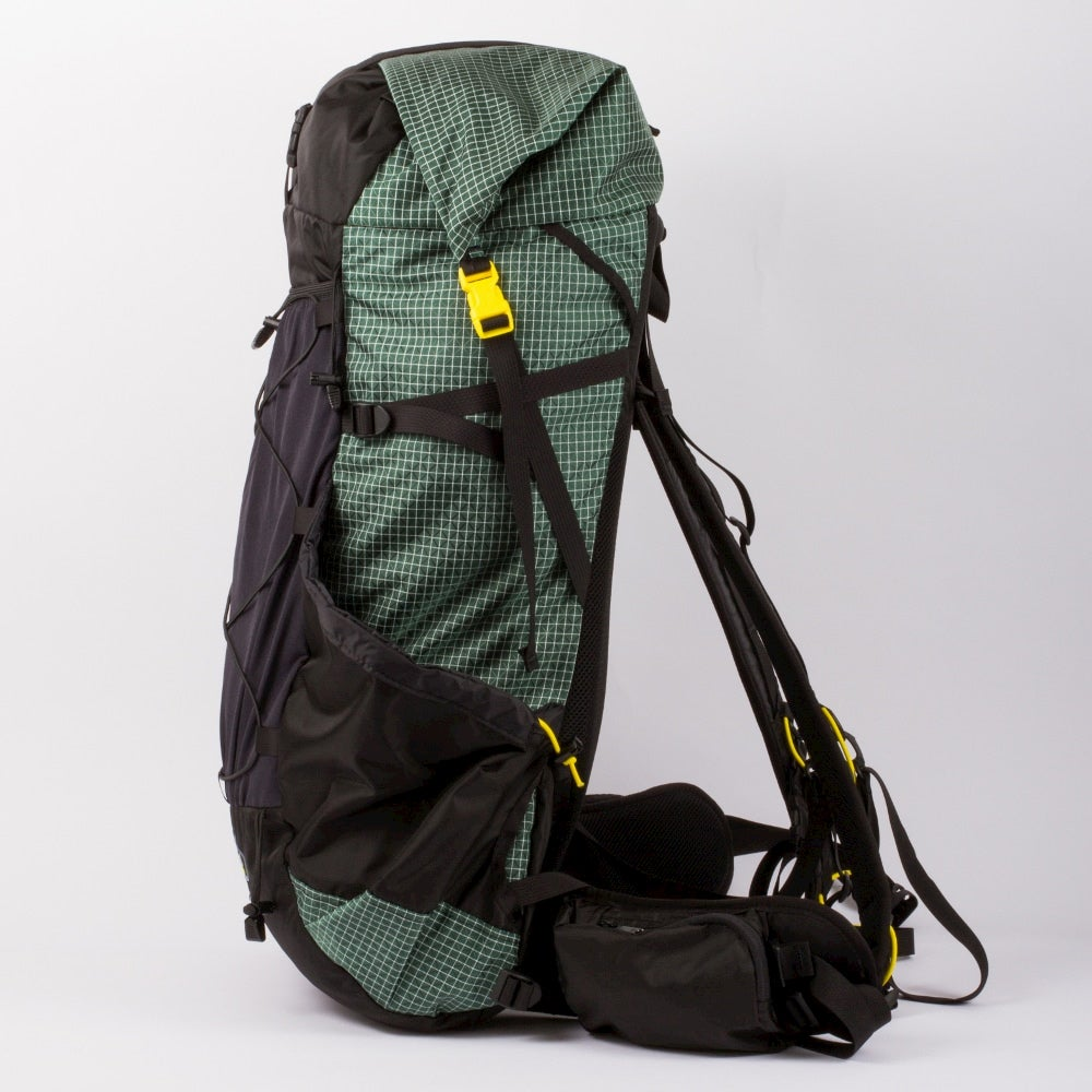 Green and black backpacking pack.