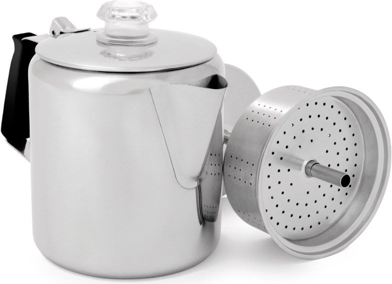 Metal percolator with filter attachment.