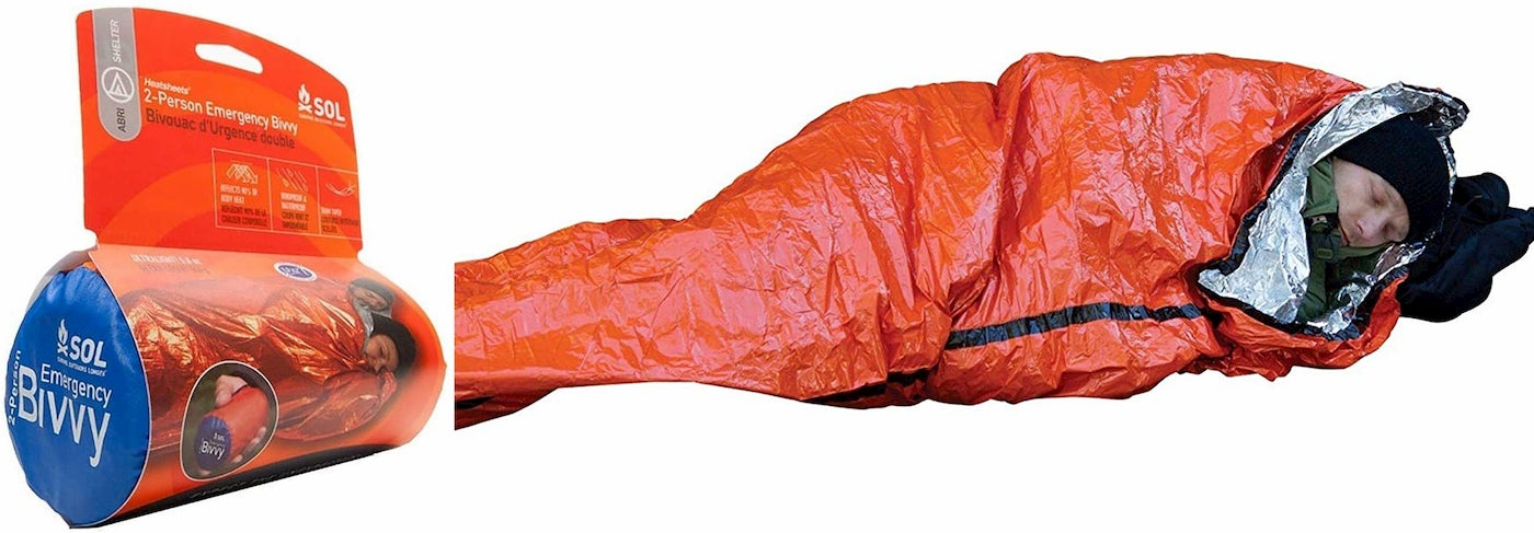 On the left image of emergency blanket product. On the right, Person sleeping in orange tinfoil blanket.