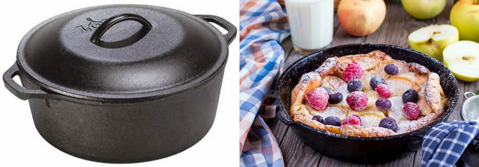 Dutch oven on the left, dutch oven on the right on a table with fruit and berries.