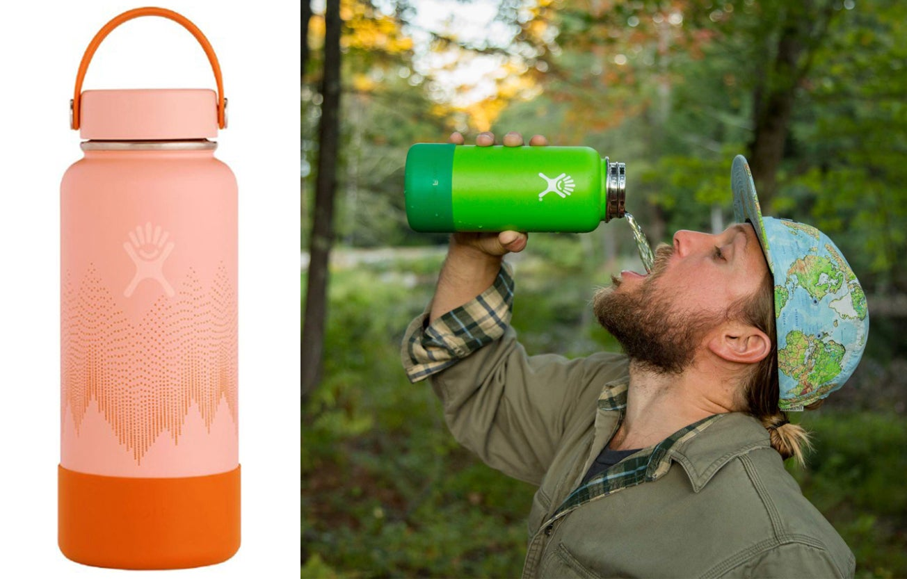 On the left pink and orange water bottle, on the right man drinking out of green water bottle in the woods.