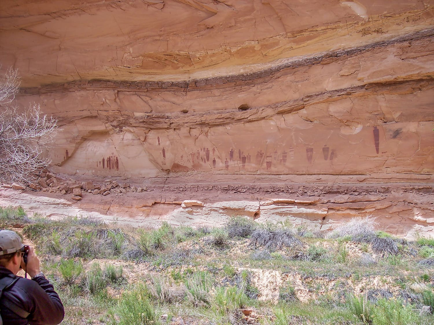 hiker taking picture of pictographs at horseshoe canyon