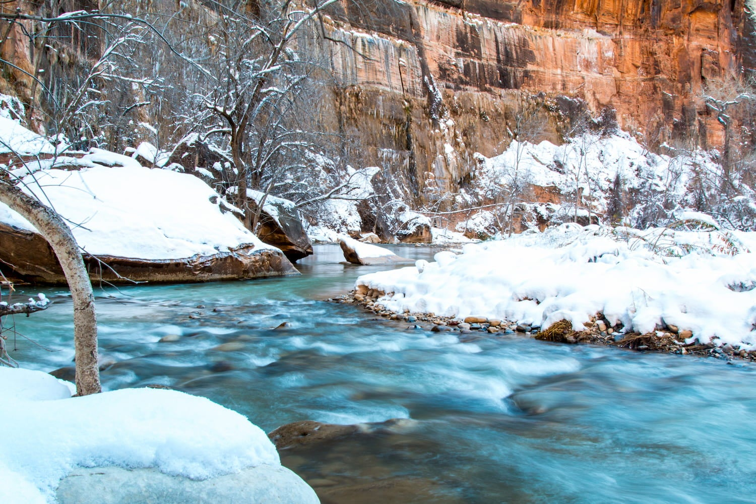 snow around a flowing river in Zion National Park