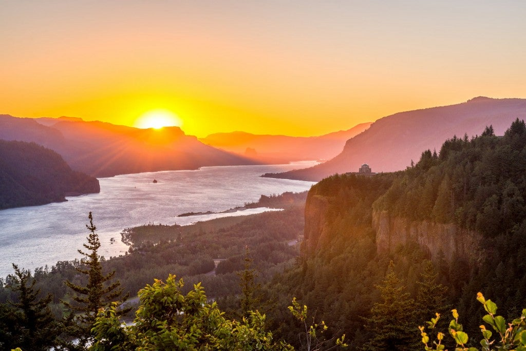sunset at the columbia river gorge