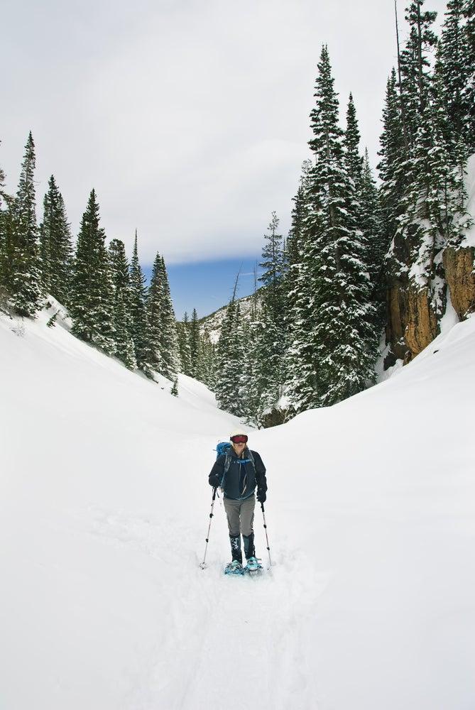 Snowshoer in the rockies