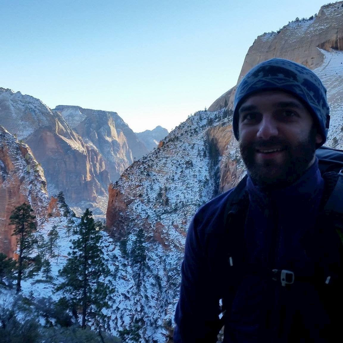 selfie of anthony easton hiking the narrows in winter