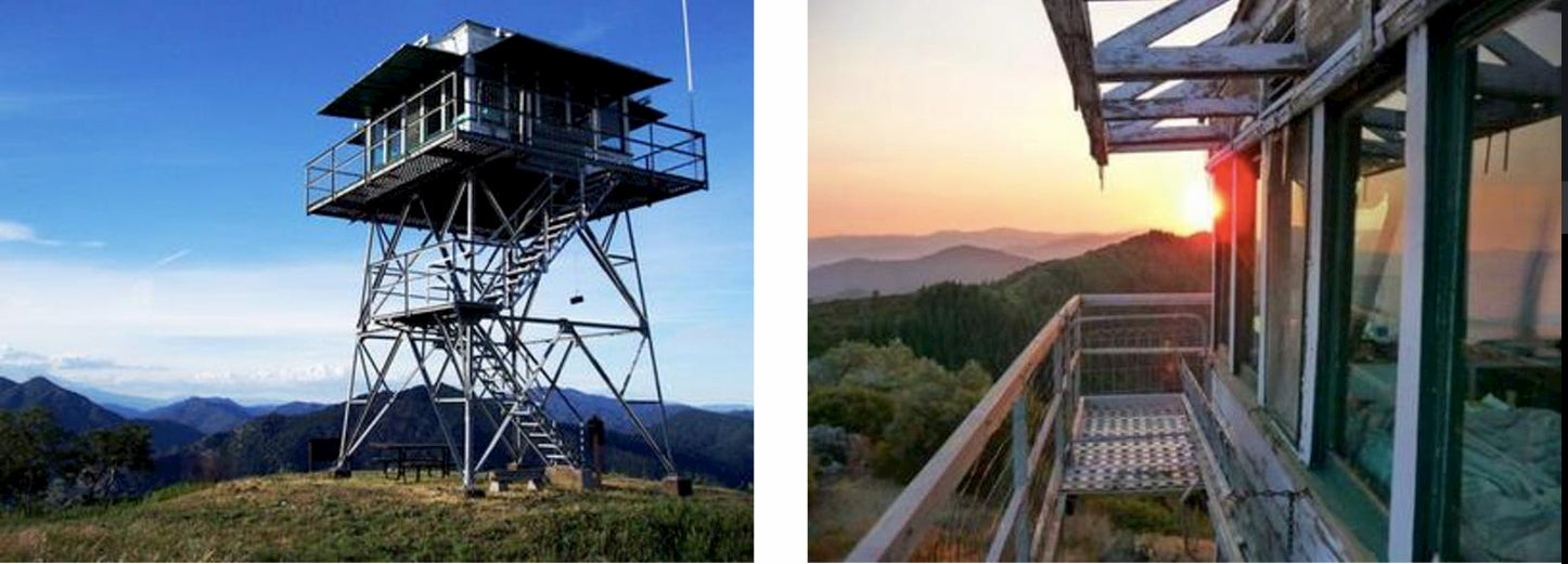 side-by-side pictures of firewatch tower. first picture is a widehost and second is the viewpoint from the top of the tower