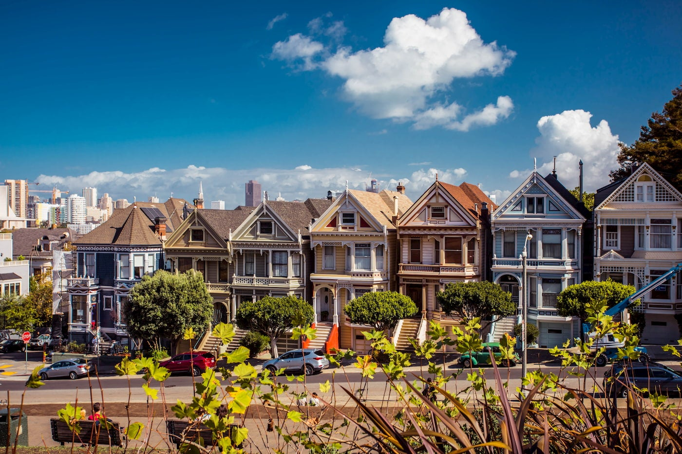 Houses along a block in San Francisco.