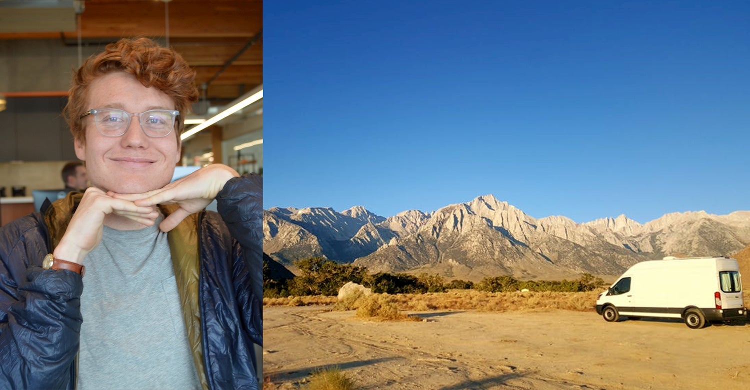 On the right photo of guy in a office resting his chin on his hands, left image of sprinter van parked in a desert below a snow capped mountain range.
