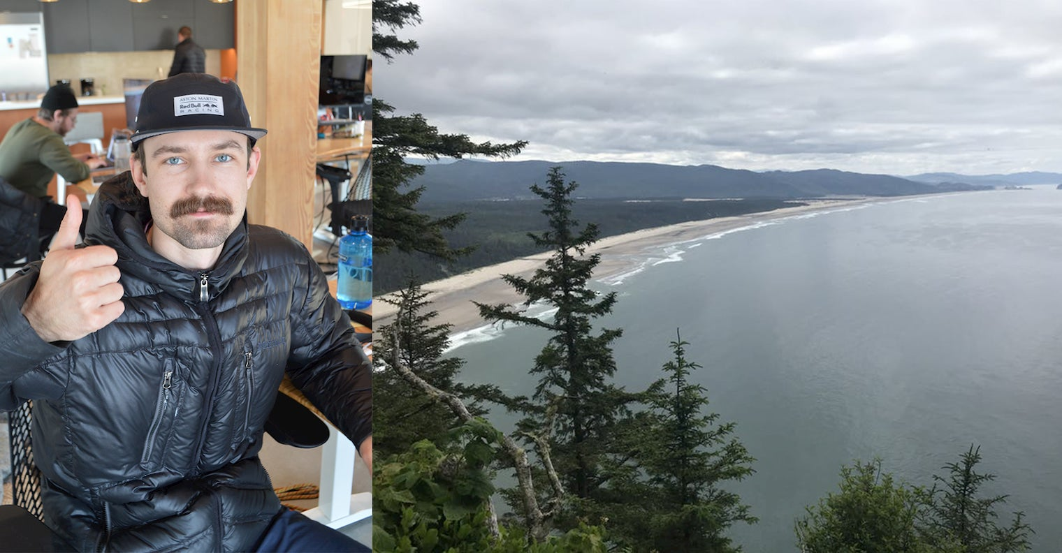 On the right photo of guy at his desk giving a thumbs up, left image of a beach landscape behind an evergreen forest.