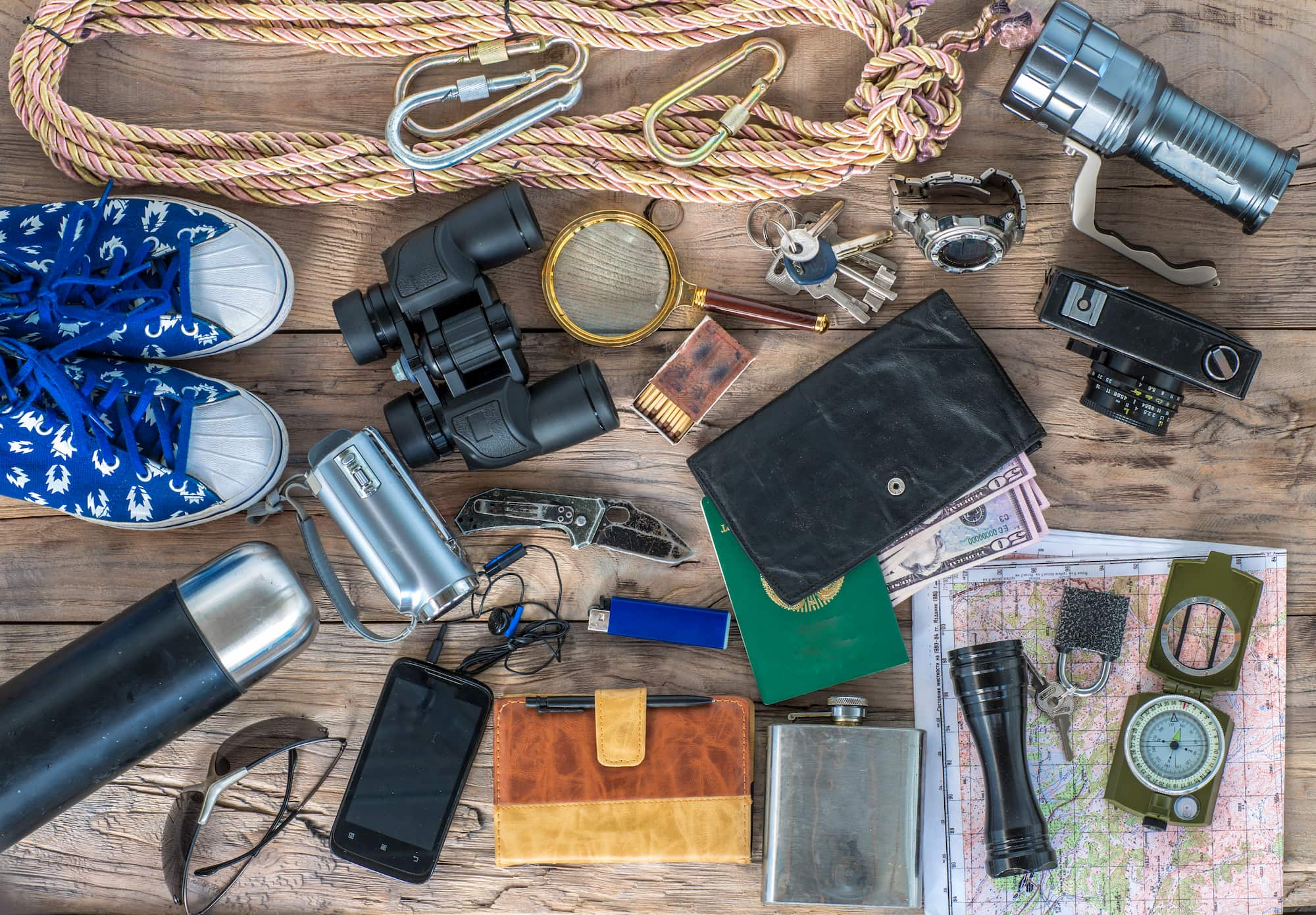 overhead shot of an assortment of survival gear