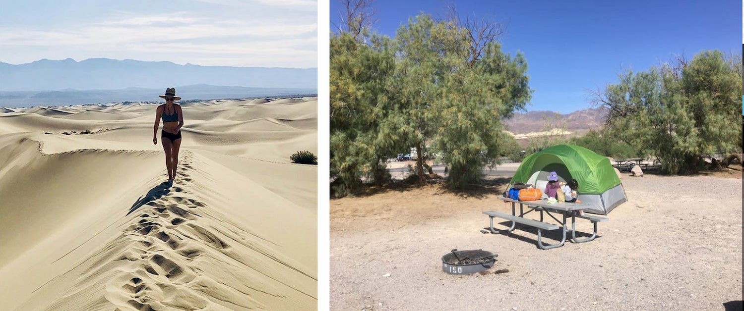 side by side of woman walking on dunes and tent at campsite