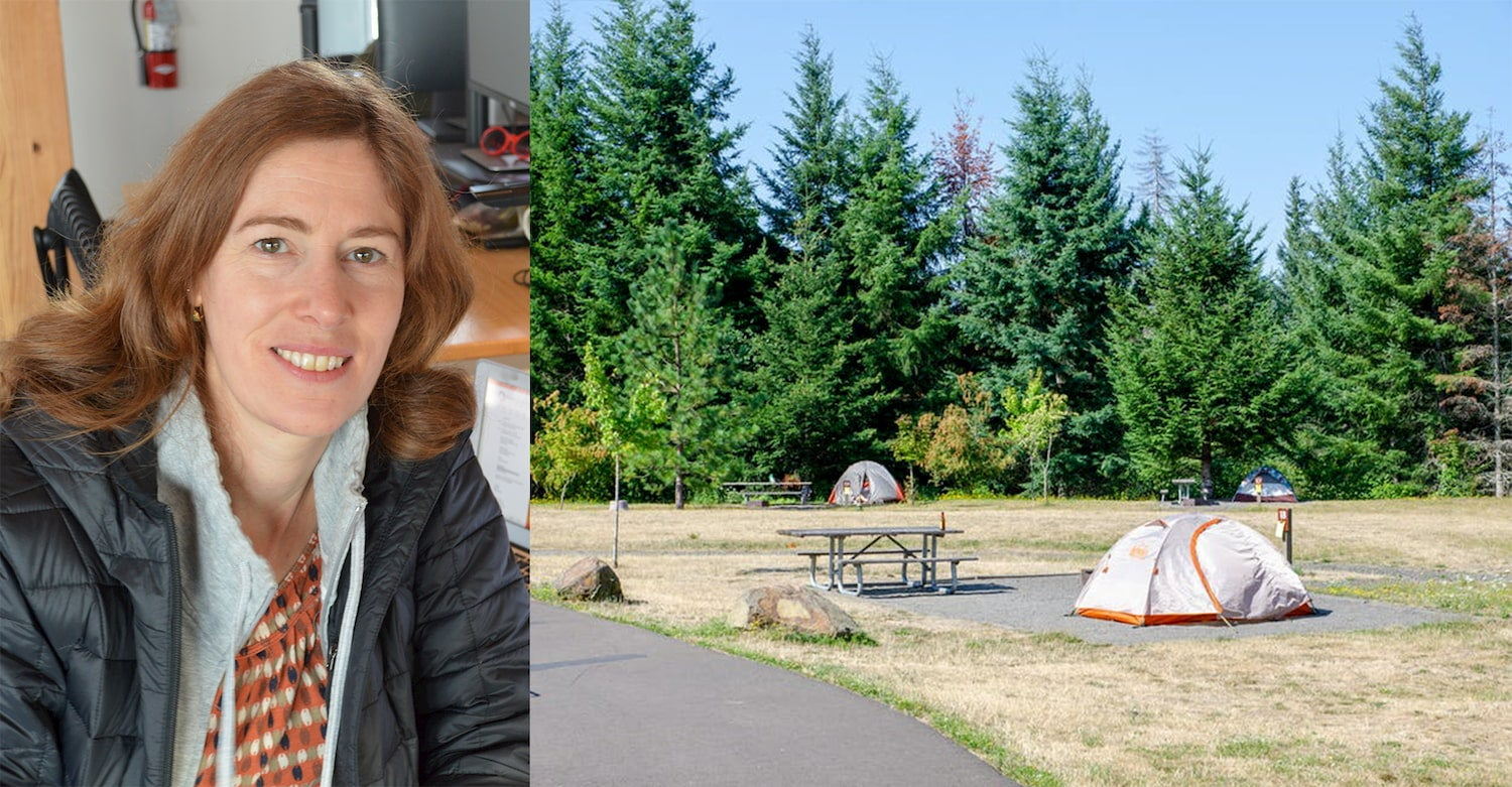 On the left women sitting at her desk, one the right tents setup at campsite on the grass beside a forest.