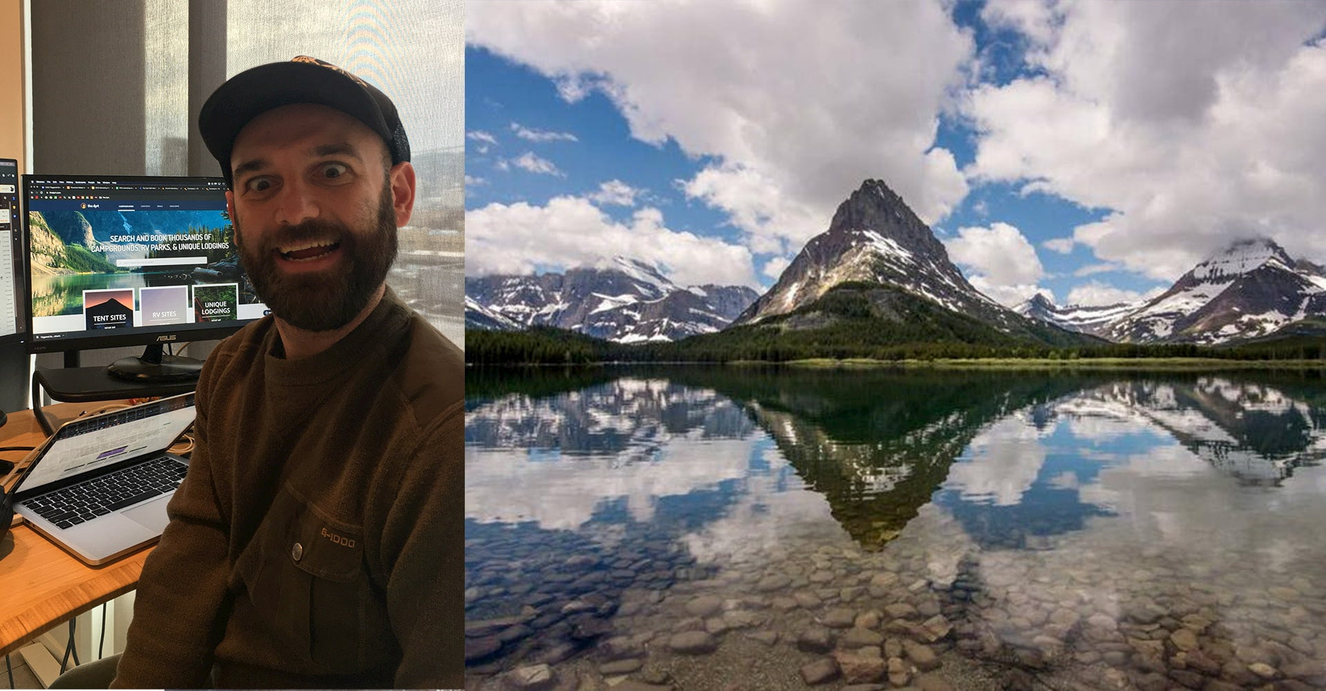 On the right photo of guy in a office, left panorama of a lake with snow dusted mountains the background and expansive blue sky with clouds.