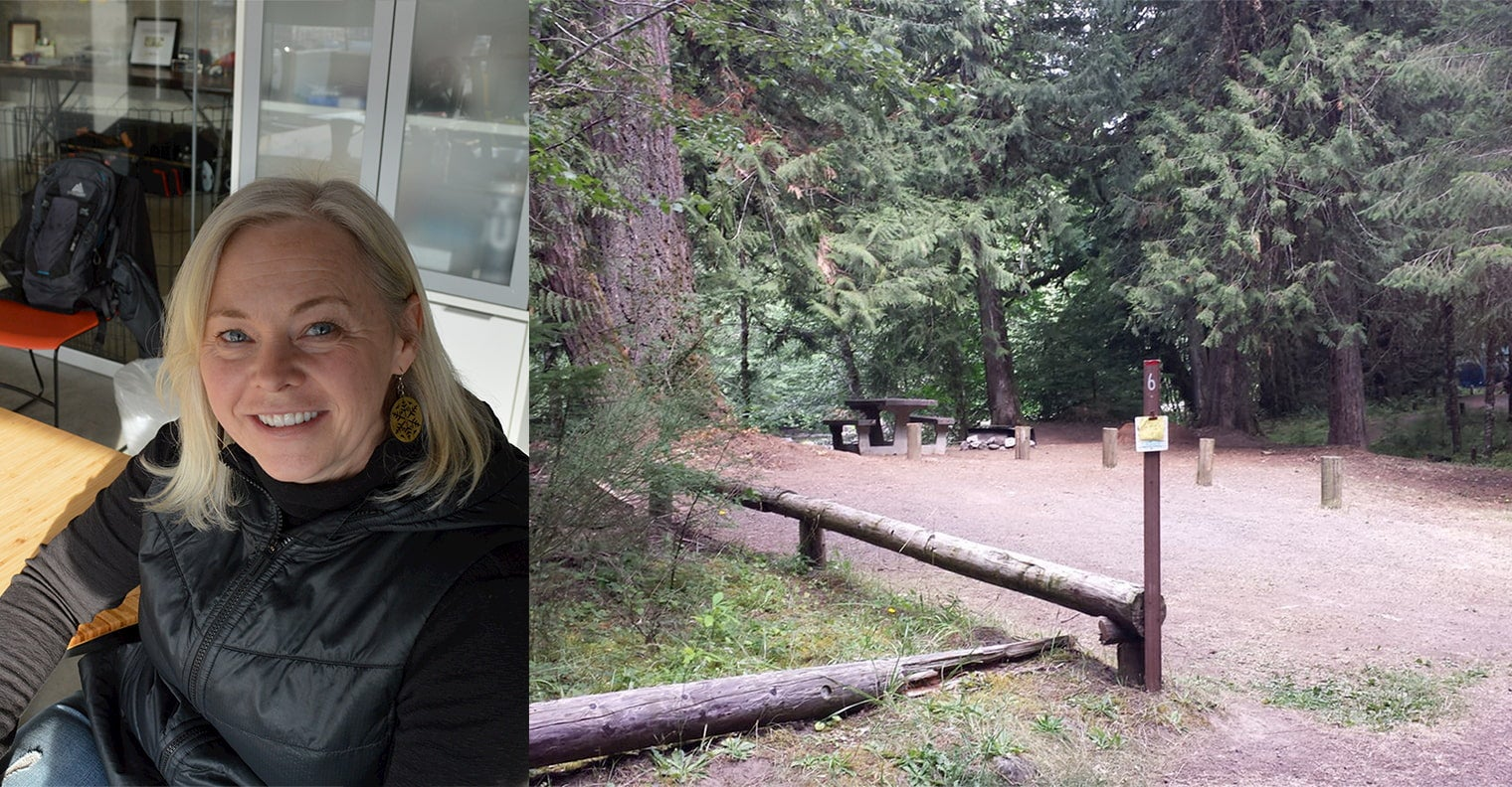Left image of women smiling at her desk, Right image of clearing in the forest with campground signage and evergreen trees in the background.