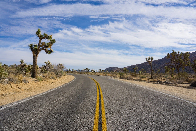 road through johsua tree national park