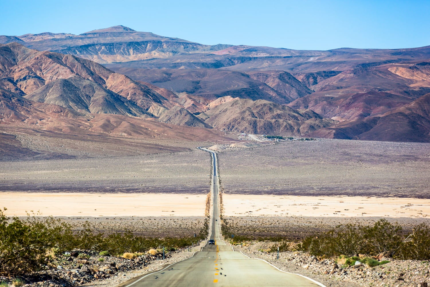 long straight road through death valley