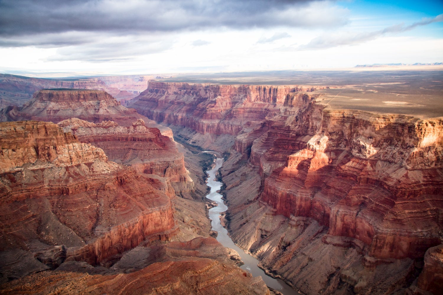 view over the south and north rim part in grand canyon from a helicopter